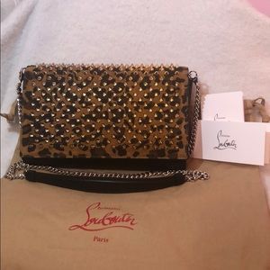 ‼️Louboutin Paloma Leather & Suede Chain Clutch‼️